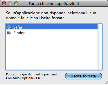 Chiusura forzata applicazioni