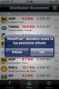 iPhone autorizzazione GPS