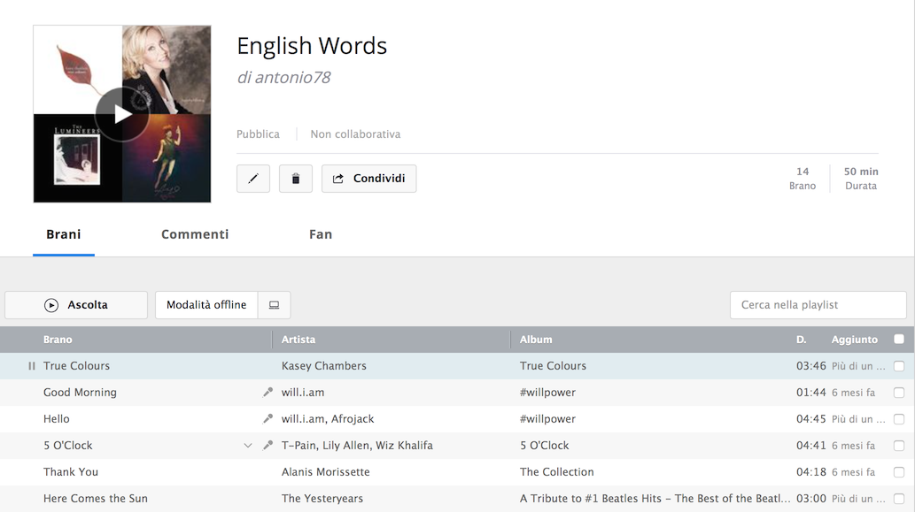 Playlist English Words in Deezer